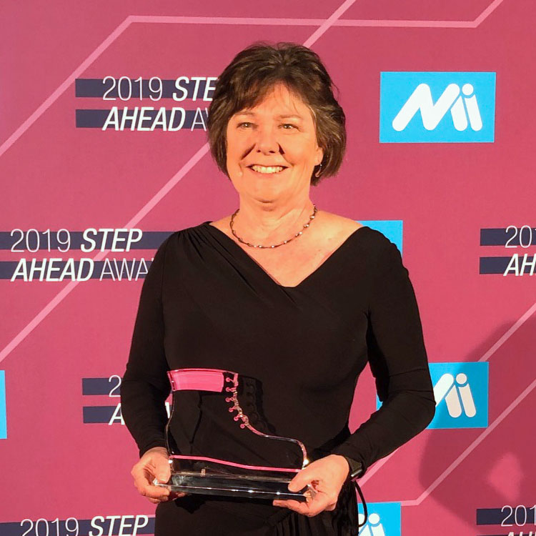 jean bye accepting step award